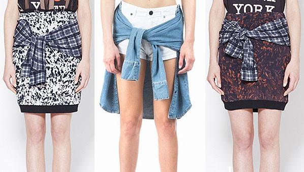 90's fashion tying a shirt around the waist
