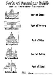 Fort Qila Anandpur Sahib Khalsa Fun Activity Sheet Guru Gobind Singh Ji
