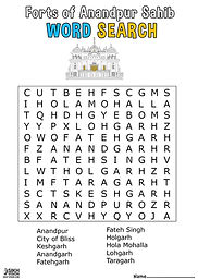 Fort Qila Anandpur Sahib Khalsa Fun Activity Sheet Guru Gobind Singh Ji Word Search