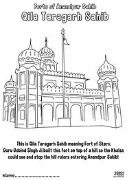 Fort Qila Taragarh Anandpur Sahib Khalsa Fun Activity Sheet Guru Gobind Singh Ji