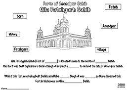 Fort Qila Fatehgarh Anandpur Sahib Khalsa Fun Activity Sheet Guru Gobind Singh Ji