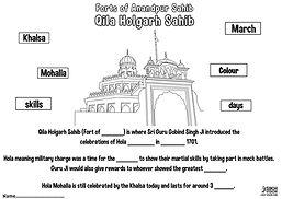 Fort Qila Holgarh Anandpur Sahib Khalsa Fun Activity Sheet Guru Gobind Singh Ji