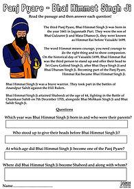 Panj Pyare Bhai Himmat Singh Ji Vaisakhi 1699 History Khalsa Amrit Ceremony Guru Gobind Singh Ji Fun Activity Sheet