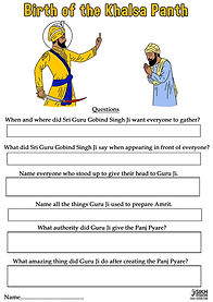 Birth of the Khalsa Vaisakhi 1699 Guru Gobind Singh Ji Activity Sheet