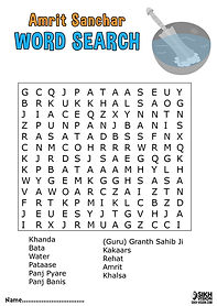 Amrit Sanchaar Vaisakhi Khalsa Activity Sheet Word Search