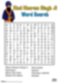 Panj Pyare Bhai Dharam Singh Ji Vaisakhi 1699 Khalsa Amrit Ceremony Guru Gobind Singh Ji Fun Activity Sheet Word Search