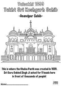 Anandpur Sahib Keshgarh Sahib Khalsa Fun Activity Sheet Guru Gobind Singh Ji