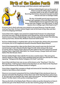 Birth of the Khalsa Guru Gobind Singh Ji ActivIty Shee