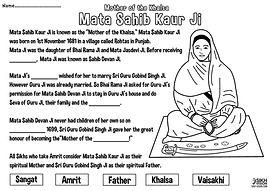 Mata Sahib Kaur Ji Vaisakhi 1699 History Khalsa Amrit Ceremony Guru Gobind Singh Ji Fun Activity Sheet