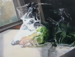A lettuce and a window