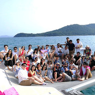 customer group photo on yacht trampoline