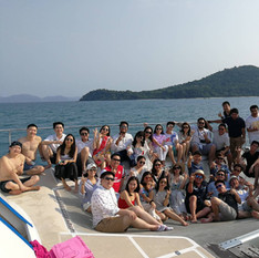 customer group photo on yacht trampoline