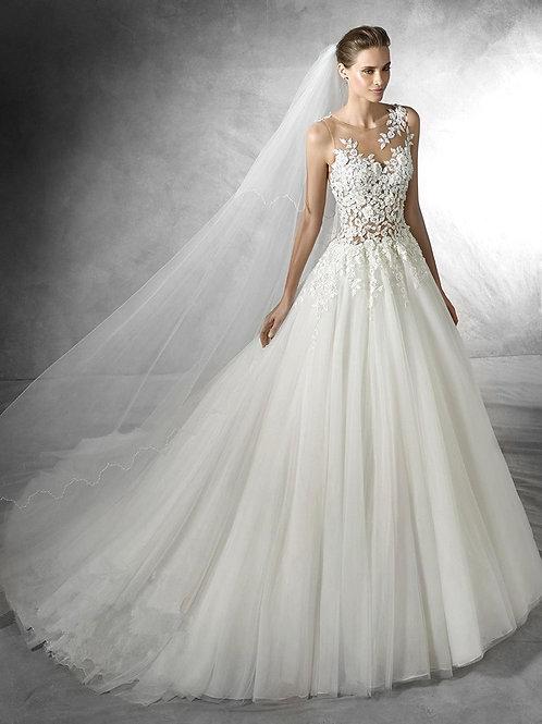 Vestido De Noiva Notável Princesa Com Véu e Laço