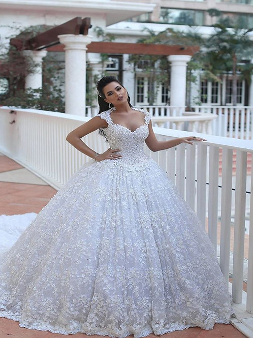 Vestido De Noiva Amuleto Princesa Manga Curta