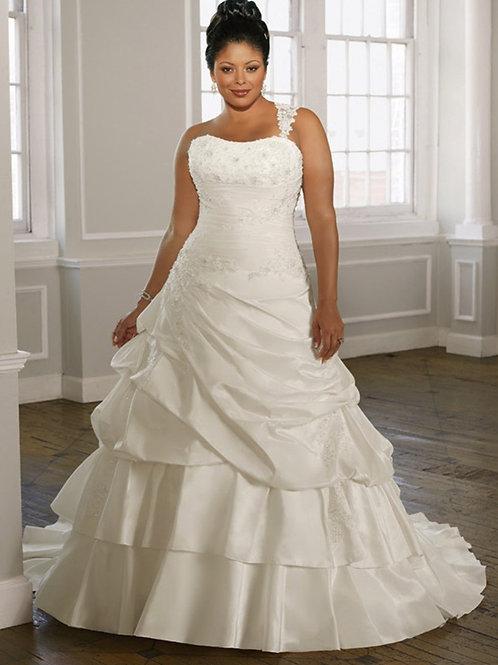 Vestido De Noiva Pretensão Plus Size Um Ombro Só