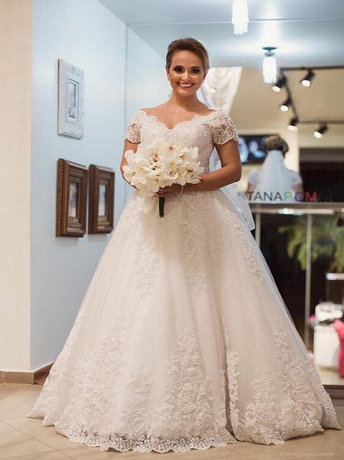 Vestido De Noiva Querer Princesa Manga Curta