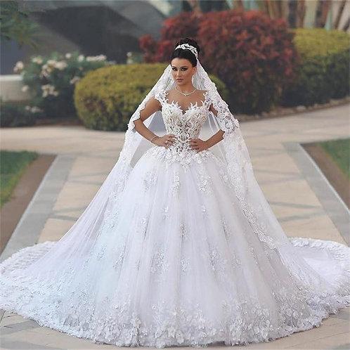 Vestido De Noiva Desvelo Princesa Manga Curta
