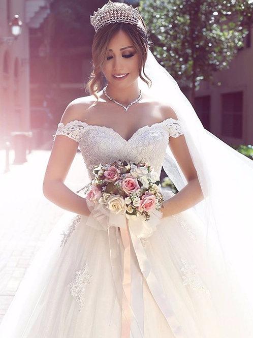 Vestido De Noiva Nobre Princesa Ombro Caído