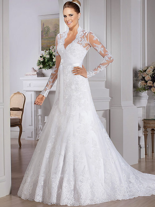 Vestido De Noiva Manga Longa Saliência