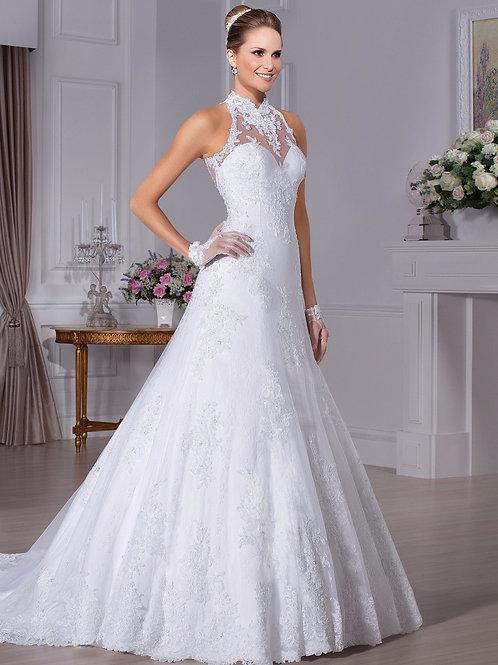 Vestido De Noiva Capela Com Gola