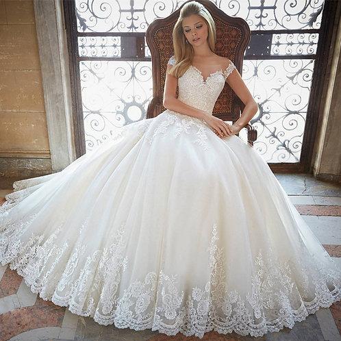Vestido De Noiva Realeza Princesa Sem Manga