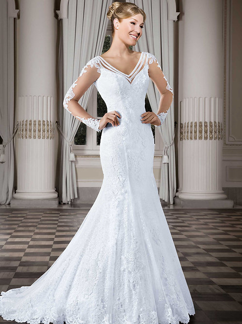 Vestido De Noiva Sereia Manga Longa Aura