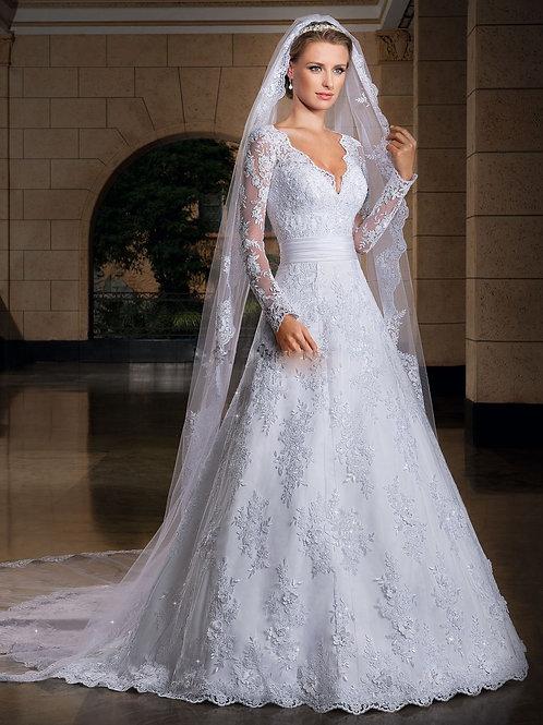 Vestido De Noiva Jeitosa Manga Longa Com Véu