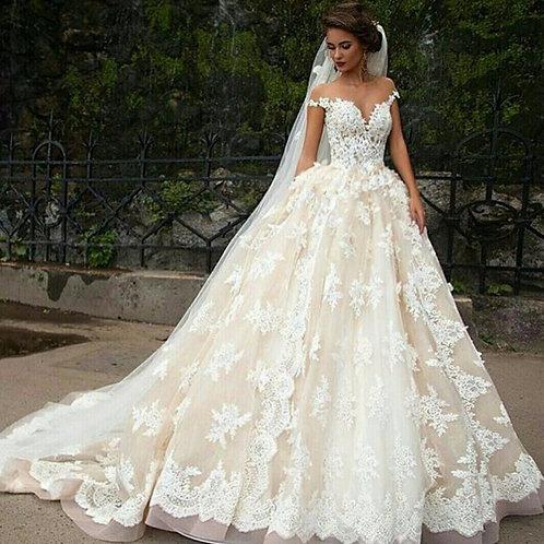 Vestido De Noiva Impecável Manga Curta
