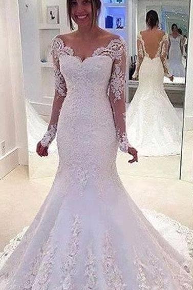 Vestido De Noiva Sereia Manga Cumprida Paradisíaco