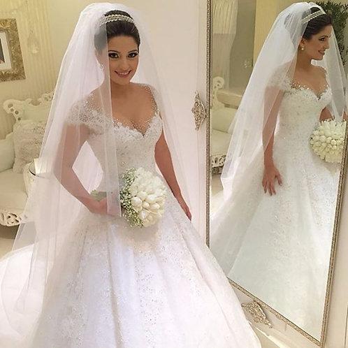 Vestido De Noiva Revelação Princesa Manga Curta