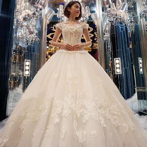 Vestido De Noiva Princesa Ombros Caído Surpreendedor