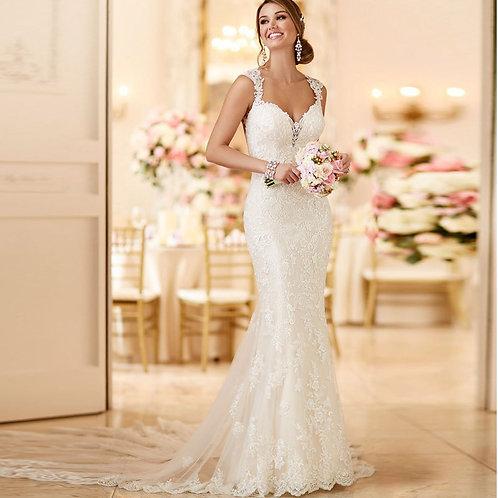Vestido De Noiva Encantadora Sereia Sem Manga