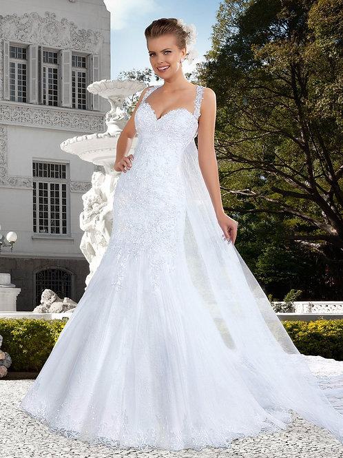 Vestido De Noiva Cintilante Sereia Manga Curta