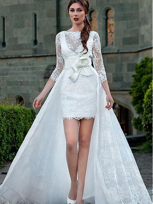Vestido De Noiva Estimada 2 em 1 Calda Destacável