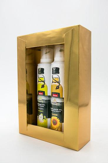 Коробка подарочная для масла спрей золотая