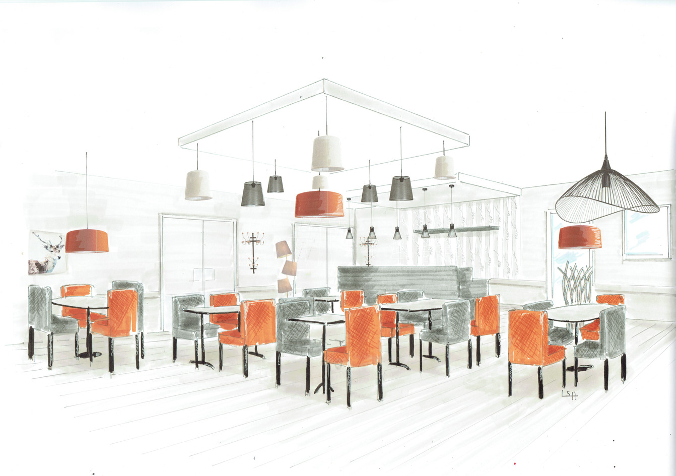Agencement d'un restaurant d'application