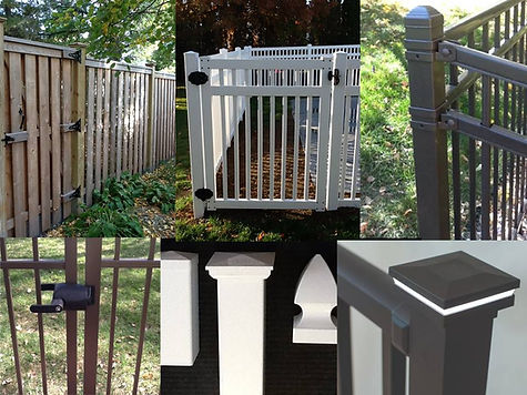Fence Accessories: Hinges, Post Lighting, Latches.