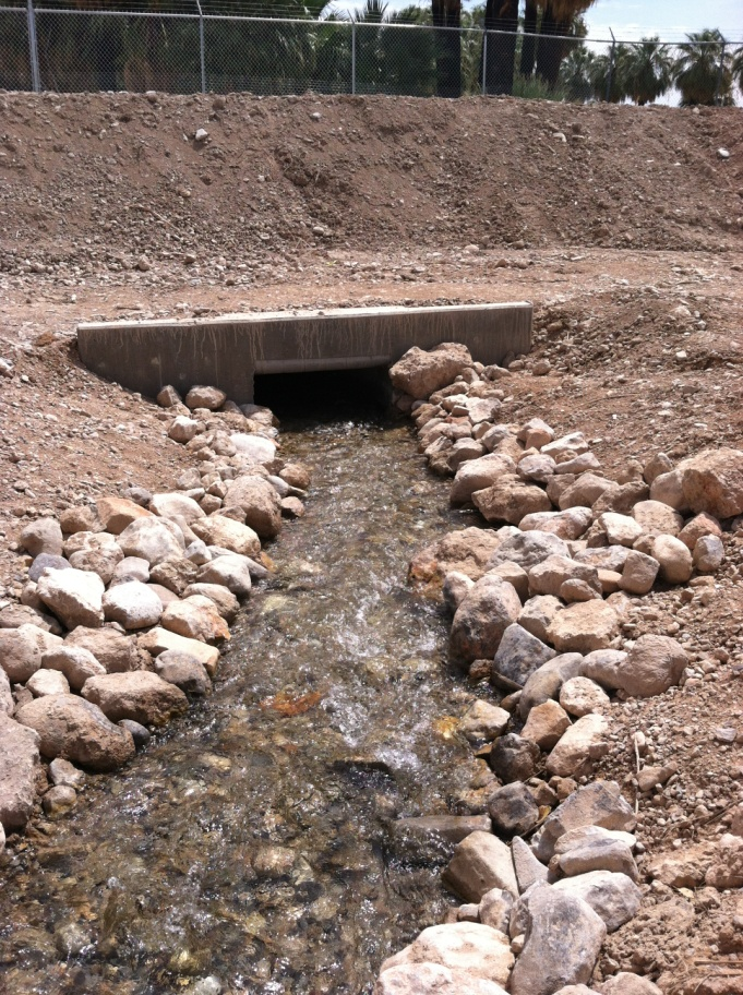 Apcar project_upstream view of new reinforced concrete box on Moapa Valley NWR