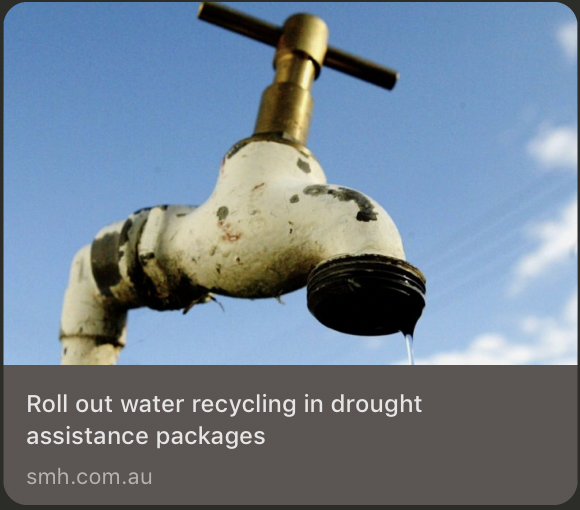 SMH Opinion Roll out water recycling