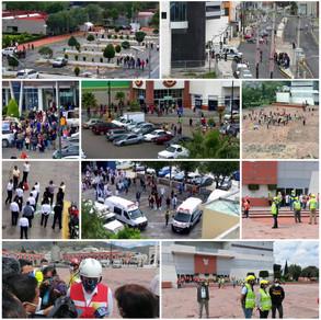 En Hidalgo se lleva a cabo simulacro en oficinas, edificios, Hospitales y en Palacio de gobierno