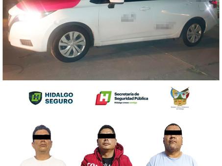 Asegura SSP Hidalgo a tres hombres tras presunto asalto a taquería de Mixquiahuala