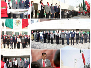 El PRI llevó acabo  ceremonia y honores a la bandera por el motivo del inicio de la Independencia