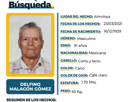 Se busca para localizar al Sr. Delfíno Malagón Gómez
