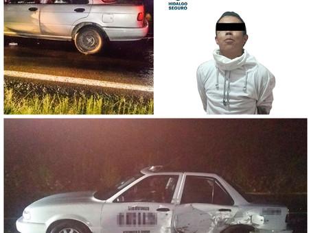 Bajo persecución, asegura SSP Hidalgo a individuo tras presunto robo de vehículo