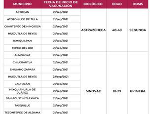 Continúan la próxima semana la vacuna contra el Covid-19 en diferentes municipos de Hidalgo