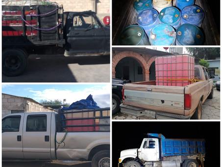 Asegura Policía Estatal 10 mil litros de hidrocarburo en Nopala y Chapantongo