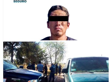 Tras presunto asalto en Veracruz, SSP Hidalgo asegura a individuo en operativo