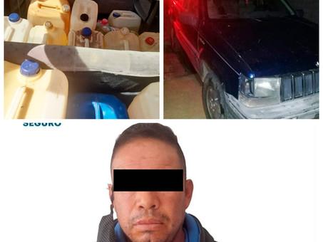 En acciones contra robo de hidrocarburo, asegura SSP Hidalgo vehículos, combustible e individuo