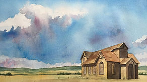 watercolor of old house or church on the plais