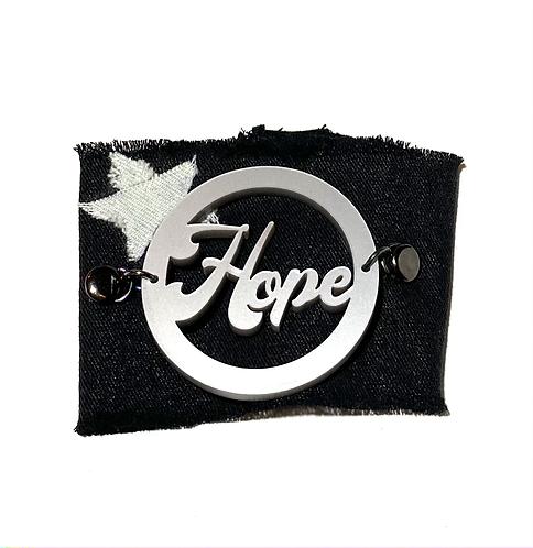 Silver Metallic Hope Black Denim Cuff with White Star